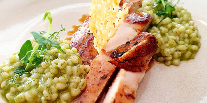 Butter Roast Chicken Breast, Barley Risotto, Pesto from Frenchie Wine Bar in Outram Park, Singapore
