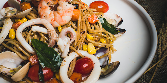 Seafood Holy Basil Spaghetti from Ice Edge Cafe (Kovan) in Hougang, Singapore