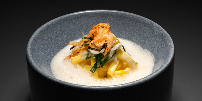 Squid with Sakura Ebi, Crustacean Foam from V Dining at Scotts Square in Orchard, Singapore