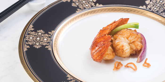 Stir Fried Lobster with Spring Onions Red Onions and Shallots, T
