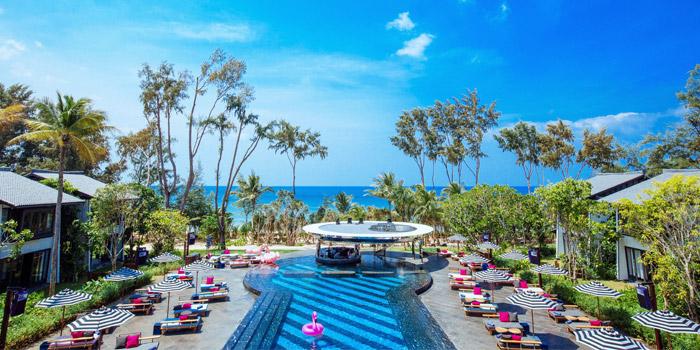 View to the beach  of Baba Beach Club of Sripanwa in Natai, Phangnga, Thailand