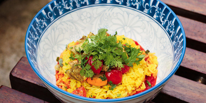 Vegetarian Roasted Saffron Rice,vegetables Infused With Ginger And Tomato Sauce, Prompt, Cyberport, Hong Kong