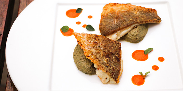 Sea Bass Filet With Crispy Skin, Eggplant Caviar And Bell Pepper Sauce, Prompt, Cyberport, Hong Kong
