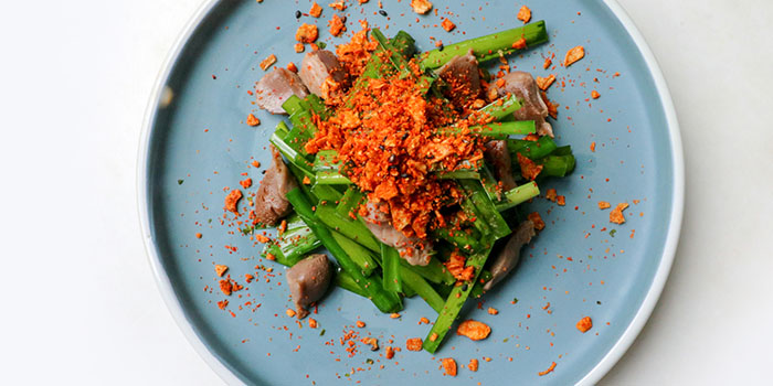 """""""Cheung Chau"""" Chicken Liver Fried With Chinese Leek And Dry Crispy Garlic, Umami, Cyberport, Hong Kong"""