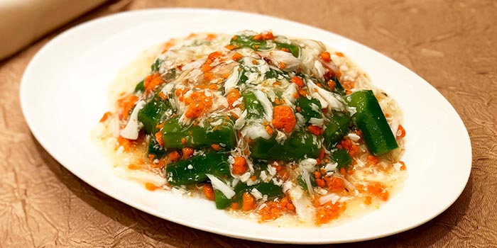 Sautéed Seasonal Vegetables with Fresh Crab Roe, Fook Lam Moon (Hong Kong), Wan Chai, Hong Kong