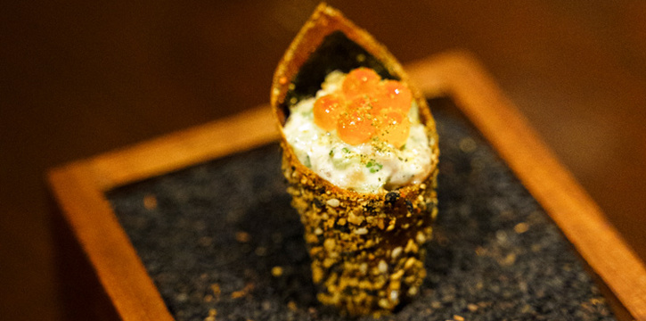 Salmon Belly Hand Roll from OCKEN at Building A, Bhiraj Tower 31S Sathorn Rd Yan Nawa, Sathon Bangkok