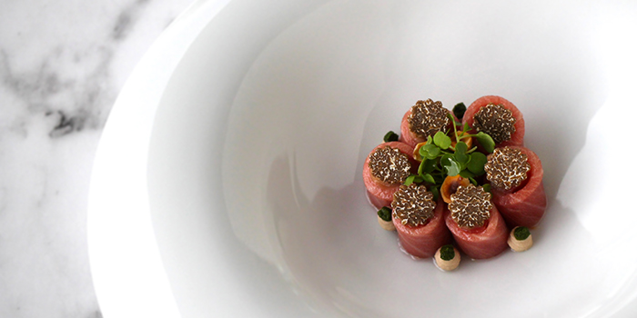 Tuna Belly Carpaccio, Autumn Truffle and Piedmont Hazelnuts from Art at National Gallery in City Hall, Singapore
