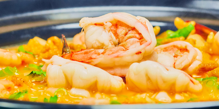 Braised Crispy Rice with Fresh Shrimp in Lobster Bisque, Sing Yin Cantonese Dining, Kowloon Station, Hong Kong