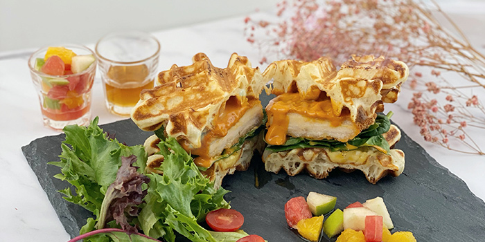 Chilli Cheese Chicken Grilled Waffle Sandwich from The Forage Cafe in Bedok, Singapore