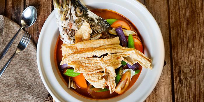 Claypot Assam Curry Barramundi Fish Head from Blue Lotus @ Sentosa Cove in Sentosa, Singapore