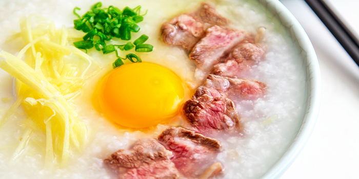 Congee with Beef & Raw Egg from The Dim Sum Place in Bugis, Singapore