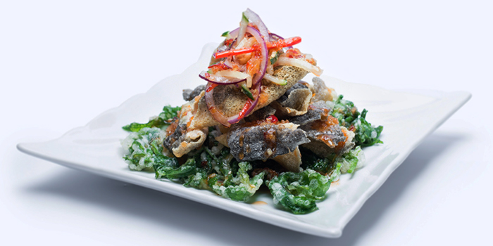 Crispy Fish Skin with Fried Kang Kong from Dian Xiao Er (Junction 8) in Bishan, Singapore