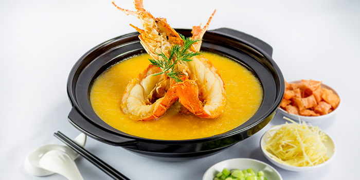 Lobster Meat with Pumpkin Cream Soup from 566 Seafood & Beer Garden At Mandai Hill in Woodlands, Singapore