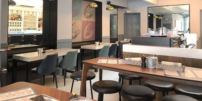 Interior of BTM Mussels & Bar in Duxton, Singapore
