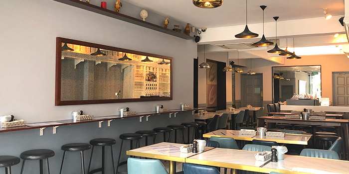 Interior of BTM Mussels & Bar in Duxton, Singapore