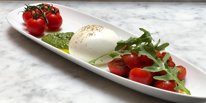 Burrata from BTM Mussels & Bar in Duxton, Singapore