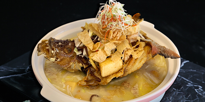 Claypot Fish in Superior Soup from G7 Sin Ma Live Seafood and Frog Porridge in Kallang, Singapore