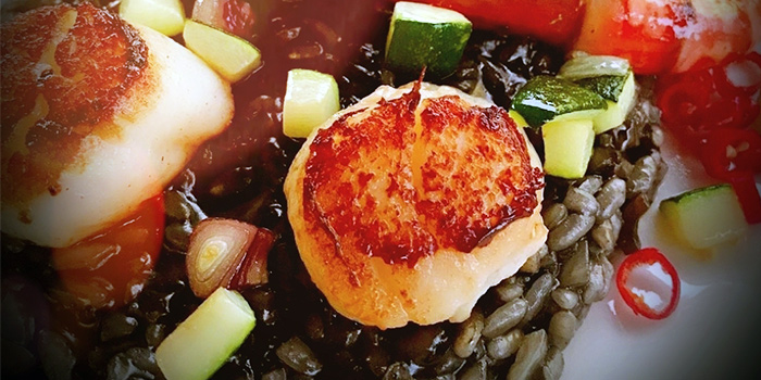 Squid Ink Lobster Stock Risotto. from O
