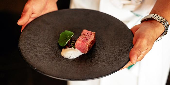 Wagyu Beef, Goya, Nastacium, Wasabi from RIZU in Duxton, Singapore