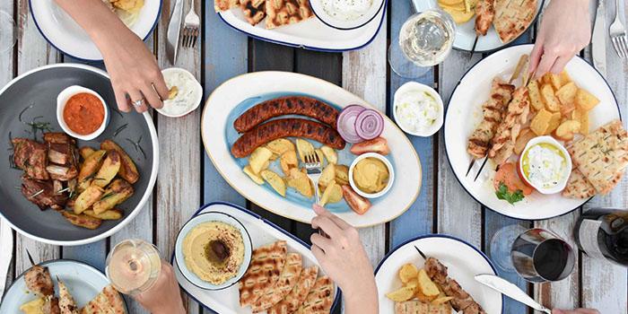 Food Spread from Zorba The Greek Taverna in Clarke Quay, Singapore