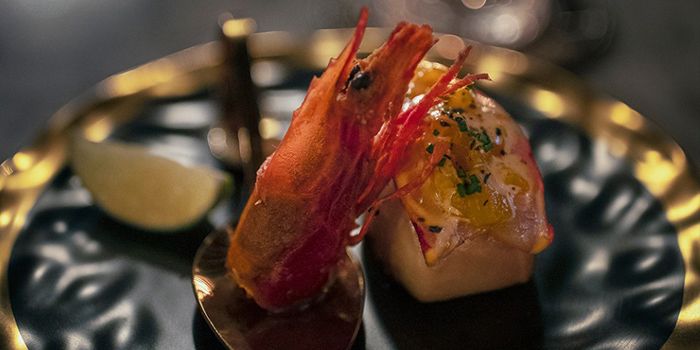 Spanish Red Prawn with Deep Fried Bun and Mango Salsa, The Crown, Wan Chai, Hong Kong