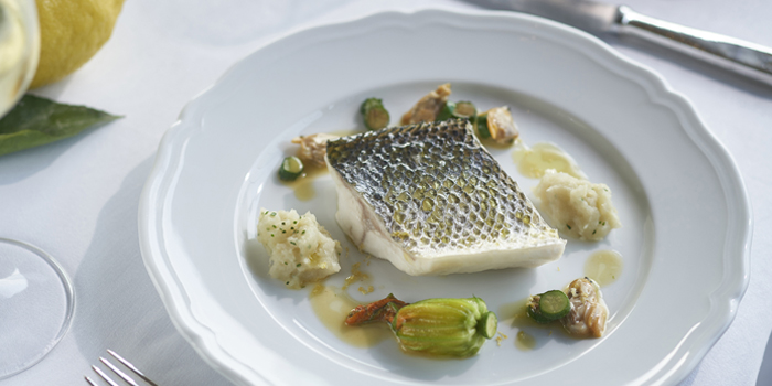 Steamed Seabass Fillet, Zucchini Flowers, Amalfi Lemon, Grissini, Wan Chai, Hong Kong
