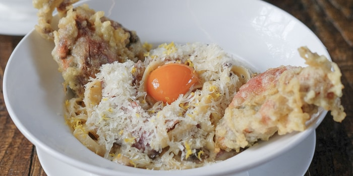 Carbonara Pasta with Soft Shell Crab from The Swillhouse