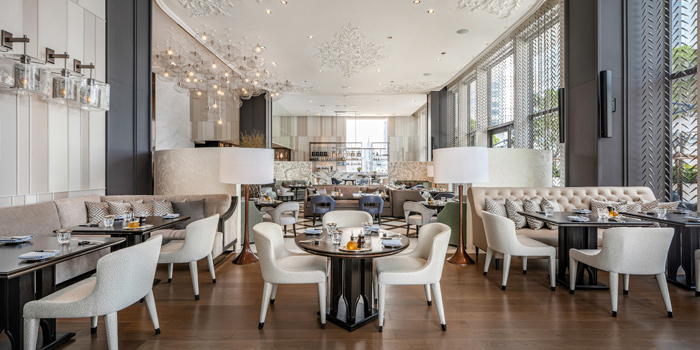The Dining Room of Lakorn European Brasserie at Rosewood Bangkok Hotel 1041/38 Ploenchit Road Lumpini, Pathumwan Bangkok