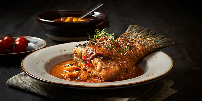 Barramundi from Po Restaurant at The Warehouse Hotel in Robertson Quay, Singapore