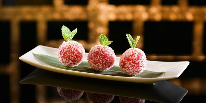 Lava Hawthorn Ball, Strawberry Jam, Rice Crisp Coated, Deep-Fried, Ming Court, Mongkok, Hong Kong