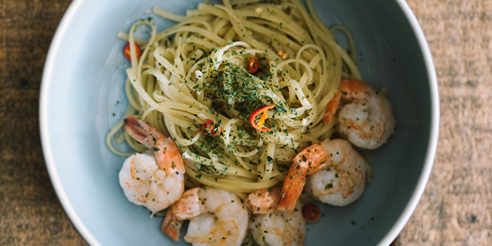 Prawn Aglio Olio from 7th Heaven KTV & Cafe at SAFRA Tampines in Tampines, Singapore