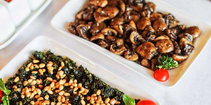 Sauteed Mushroom and Sauteed Spinach Pine Nuts at Turkuaz