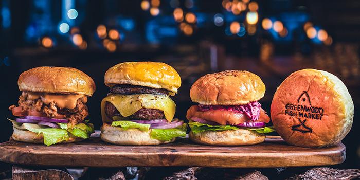 Pulled Pork Burger, Angus Burger, Smoked Salmon Burger  from Greenwood Fish Market @ Quayside Isle in Sentosa, Singapore
