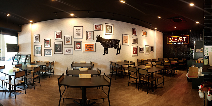 Interior of Meat you Here at Balmoral Plaza in Newton, Singapore