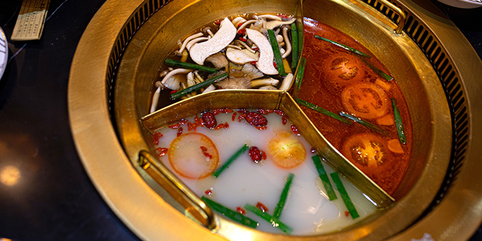 Tri Soup Base Hotpot from Mr Lion HotPot in Chinatown, Singapore