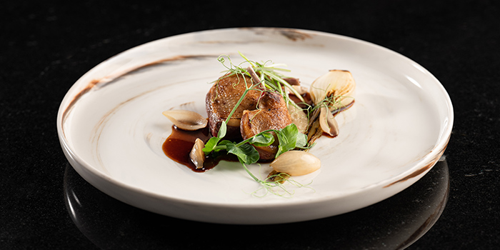 Sariette, Brittany from Pigeon, Variation of Onions, Cebette Onion, Pigeon Jus from Restaurant JAG in Tanjong Pagar, Singapore