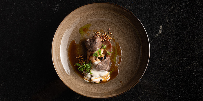 Serpolet, Baby Milk Fed lamb, Tarbais Beans, Fermented Soy Beans, Roasted Buckwheat, Cannelini Bean Purée, Lamb Jus from Restaurant JAG in Tanjong Pagar, Singapore