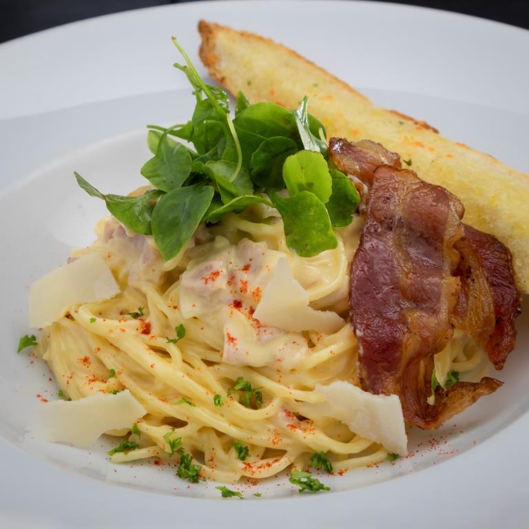 Spaghetti carbonara from BYD Bar & Bistro in Patong, Phuket, Thailand