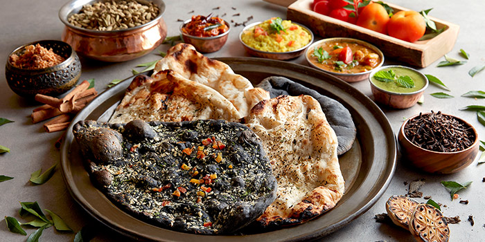 Squid Ink and Original Naan from Spice Brasserie in Little India, Singapore