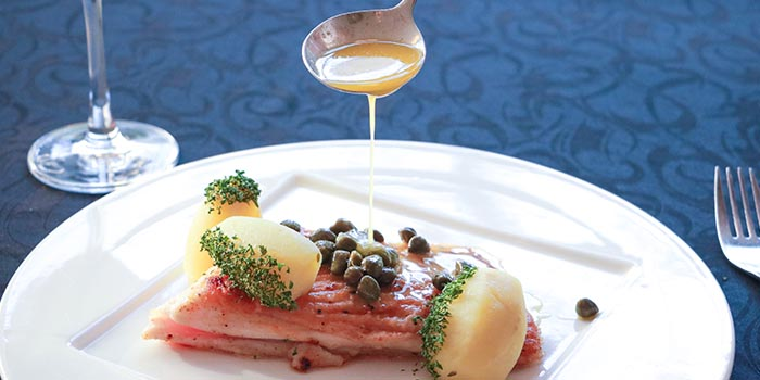 Skate wing with nut brown butter and capers, served with steamed potatoes, Prompt, Cyberport, Hong Kong