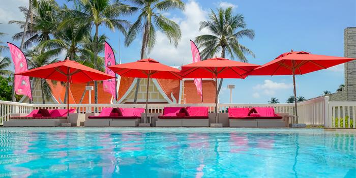Beach Club of Xana Beach Club in Bangtao, Phuket, Thailand.
