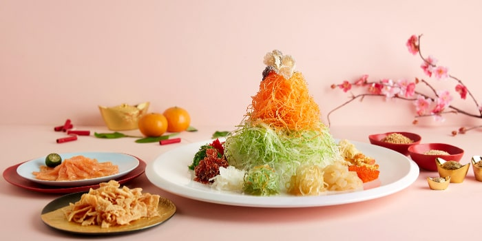 Cured Salmon Yusheng with Five Seafood Treasures from Spice Brasserie in Little India, Singapore