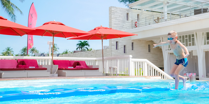 Pool Side of Xana Beach Club in Bangtao, Phuket, Thailand.