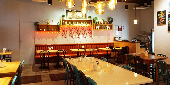 Interior of Jai Ho Indian Cafe at Global Kitchens in Queenstown, Singapore