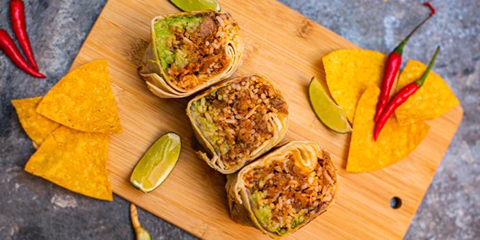 Burritos from Los Amigos Taqueria in Boat Quay, Singapore