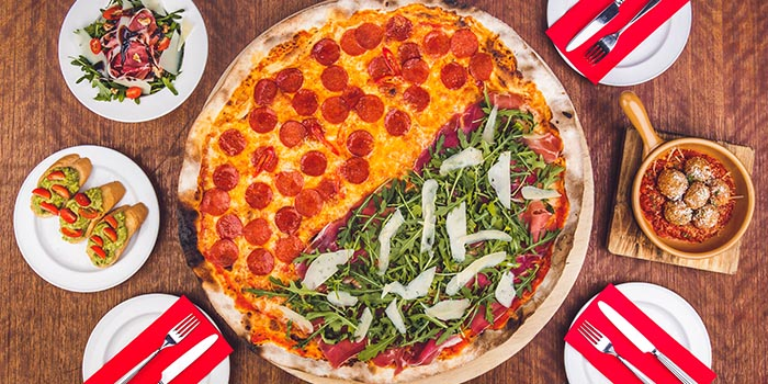 Peperoni XXL Half-Half Pizza (Diavola and Prosciutto di Parma) from Peperoni Pizzeria in Upper Thomson, Singapore