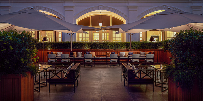 Interior of Raffles Courtyard at Raffles Hotel Singapore in City Hall, Singapore