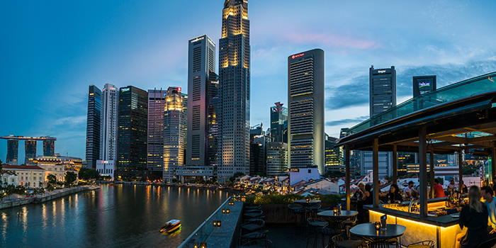 Exterior of Southbridge in Clarke Quay, Singapore