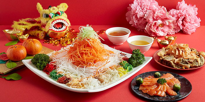 Salmon Yu Sheng from Window on the Park in Holiday Inn Singapore Orchard City Centre in Orchard, Singapore