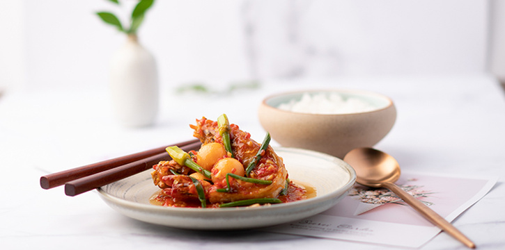 Sauted King Prawn with Garlic Hot Bean Sauce from Perch at Jewel Changi Airport in Changi, Singapore